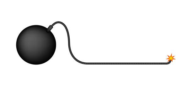 simple bomb illustration (long fuse) simple bomb illustration (long fuse) explosive fuse stock illustrations