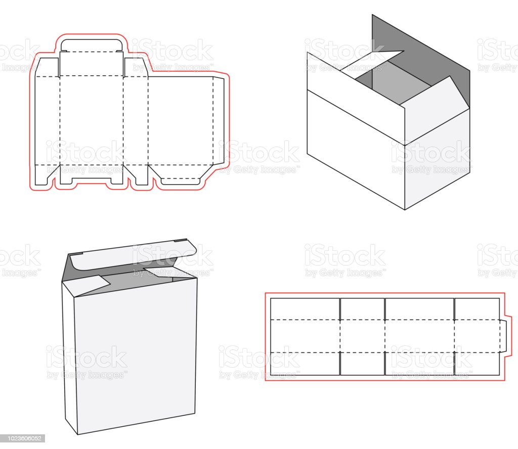 Simple Box Packaging Die Cut Out Template Design 3d Mockup Template