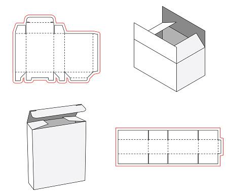 Simple box packaging die cut out template design. 3d mock-up. Template of a simple Box. Cut out of Paper or cardboard Box. Box with Die-cut