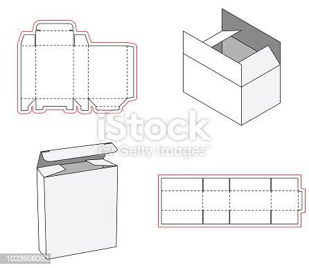 Simple box packaging die cut out template design. 3d mock-up. Template of a simple Box. Cut out of Paper or cardboard Box. Box with Die-cut.
