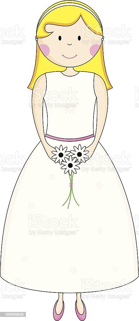 Simple Bridesmaid Character Icon vector art illustration