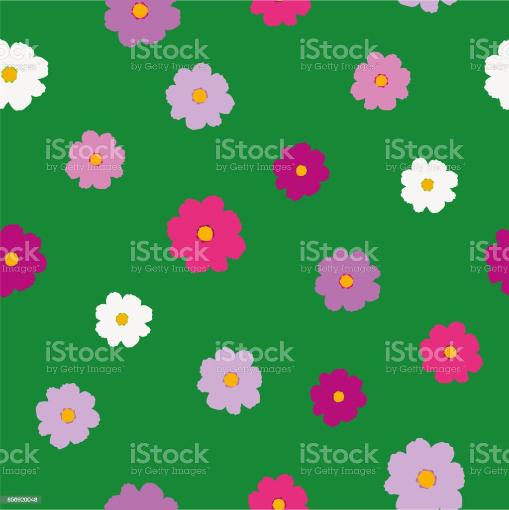 Simple bright cosmos flower pattern royalty-free simple bright cosmos flower pattern stock vector art & more images of arts culture and entertainment
