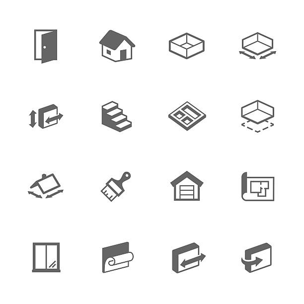 simple building house icons - basement stock illustrations
