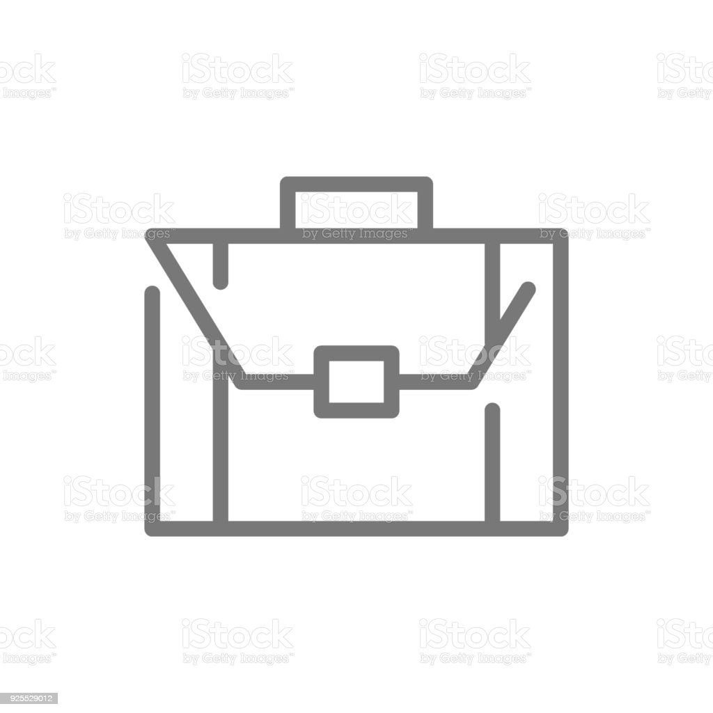 Simple business briefcase and suitcase line icon. Symbol and sign vector illustration design. Isolated on white background vector art illustration