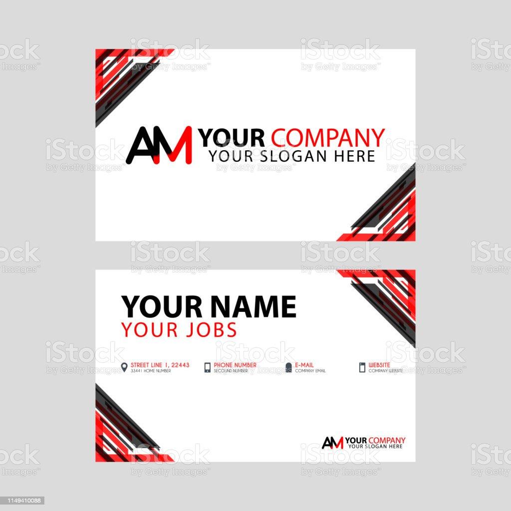Einfache Visitenkarte Ist Rotschwarz Mit Amlogo Letter