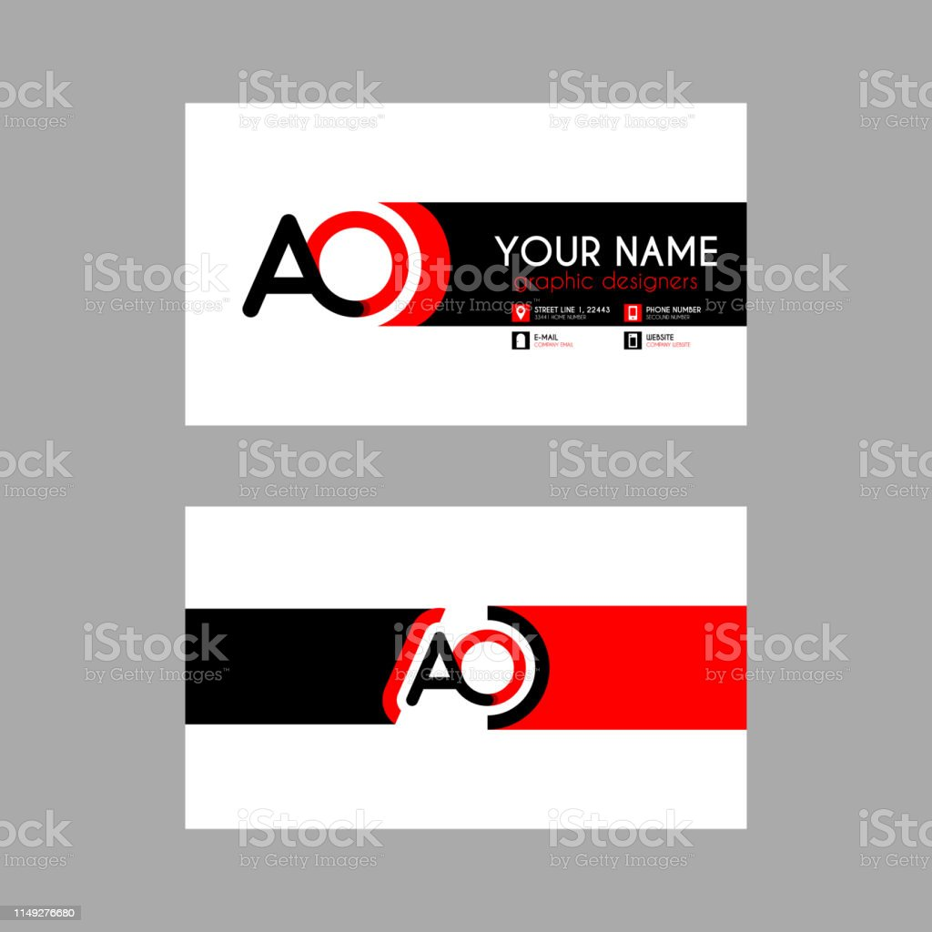 Simple Business Card With Initial Letter Ao Rounded Edges Oa