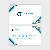 Simple Business Card with initial letter CT rounded edges with a blue and gray corner decoration.