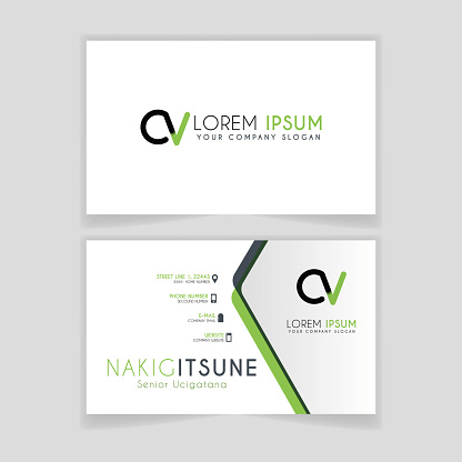 Simple Business Card with initial letter CV rounded edges with green accents as decoration.