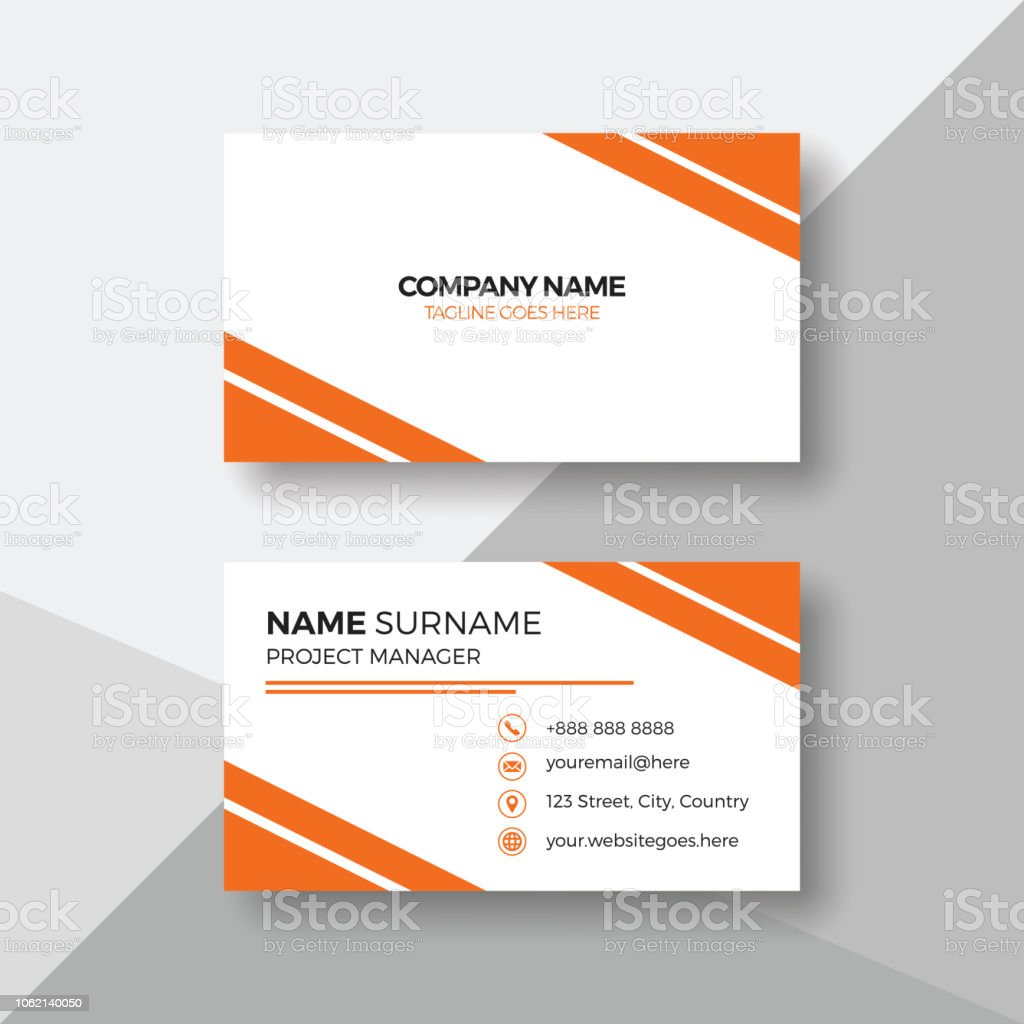 Simple Carte De Visite Avec Orange Details Cliparts