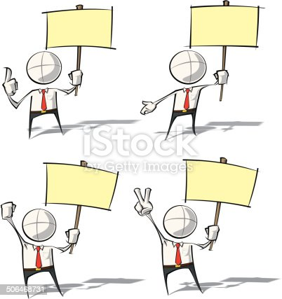 Set of sparse vector illustration of a generic Business cartoon character holding a placard.