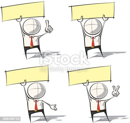 Set of sparse vector illustration of a generic Business cartoon character holding a label.