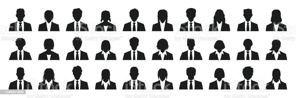 Simple business person silhouette set - Royalty-free Adulto arte vetorial