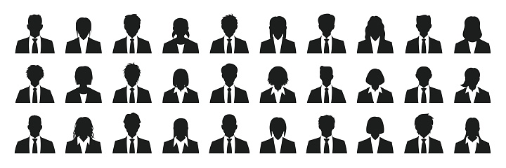 Simple business person silhouette set