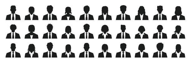 ilustrações de stock, clip art, desenhos animados e ícones de simple business person silhouette set - da cintura para cima