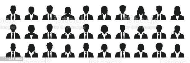 Simple Business Person Silhouette Set - Arte vetorial de stock e mais imagens de Adulto