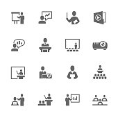 Simple Set of Business Presentation Related Vector Icons. Contains such icons as presentation, slide show, teacher, graph and more.