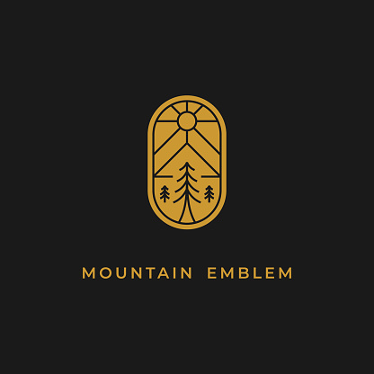 simple but look luxury mountain and tree emblem logo design inspiration