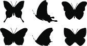 Six simple butterfly silhouette shapes.