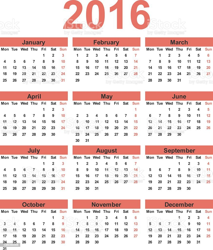 simple calendar 2016 week starts on monday royalty free simple calendar 2016 week starts