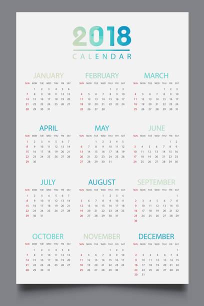 Simple calendar 2018.Abstract calendar for 2018.Week starts from sunday Simple calendar 2018.Abstract calendar for 2018.Week starts from sunday almanac stock illustrations