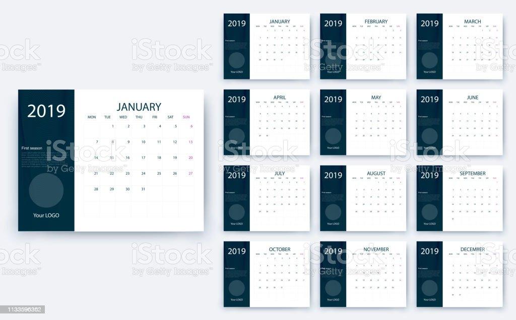 Calendario Financiero 2019.Media Istockphoto Com Vectors Simple Calendar 2019