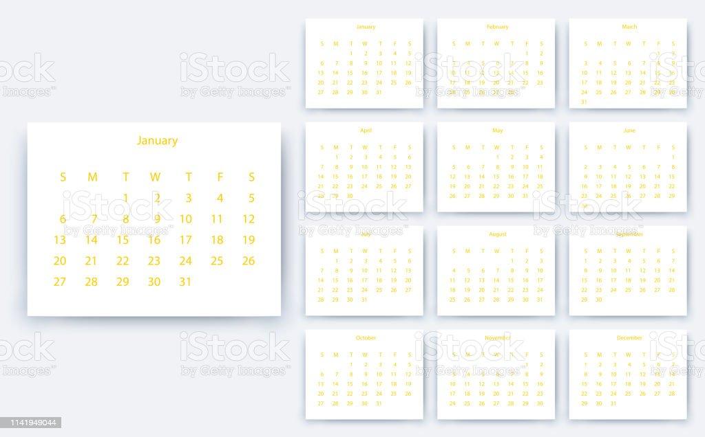 Calendario Financiero 2019.Ilustracion De Calendario Simple 2019 Yesr Stock Vector Design Eps10 Y Mas Vectores Libres De Derechos De 2019