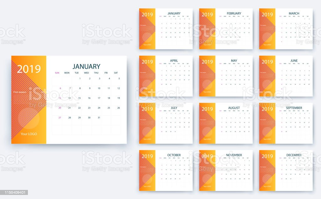 Simple Calendar 2019 Yesr Stock Vector Design Eps10 Stock