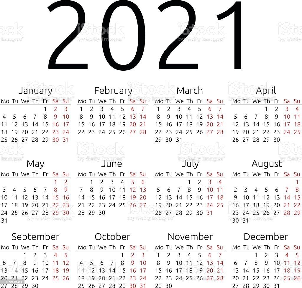 Simple Calendrier 2021 Du Lundi Vecteurs libres de droits et plus
