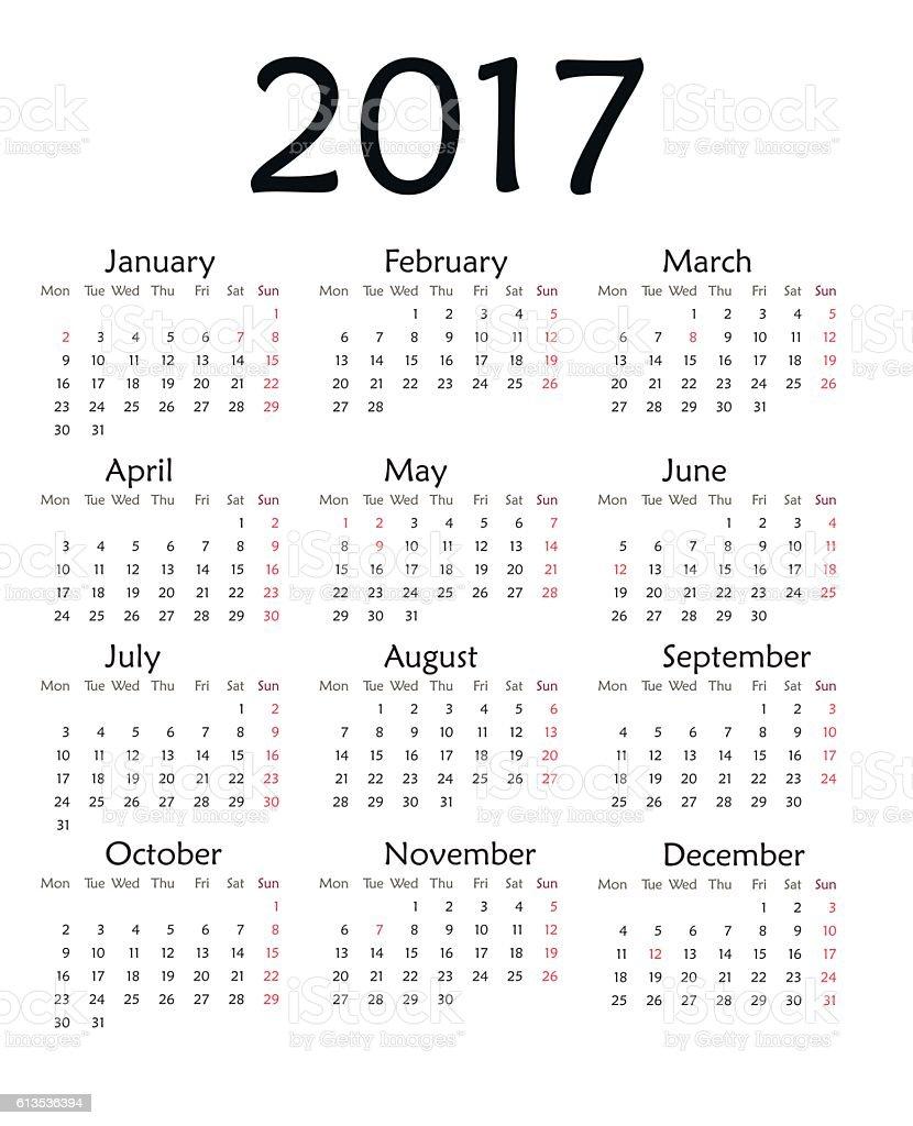 Minimalist Calendar 2017 Free : Simple calendar for year vector stock art