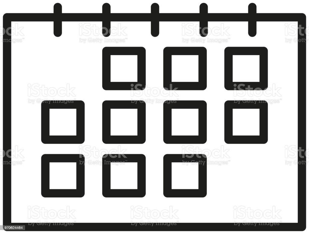 Simple Calendar Icon In Black Color Stock Illustration - Download
