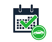 Simple calendar month counting days of the week reminder car icon