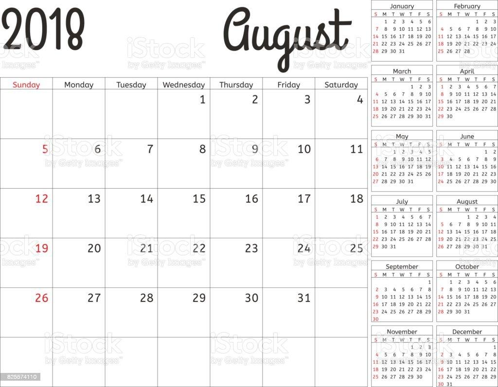 Planificador De Calendario Simple Para El Año 2018 Diseño Vector ...