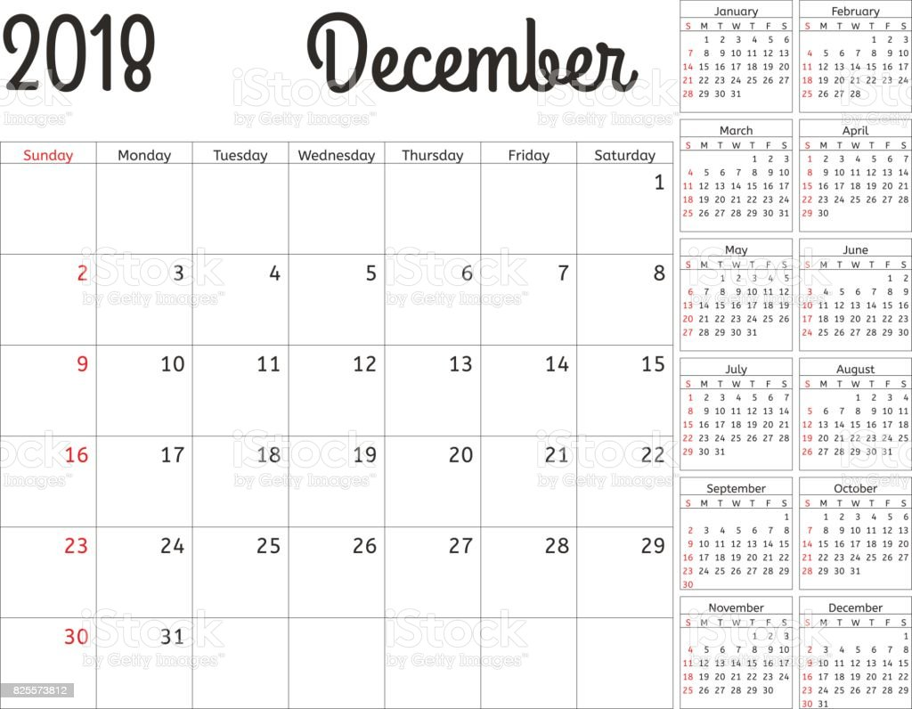 simple calendar planner for 2018 year vector design december template set of 12 months