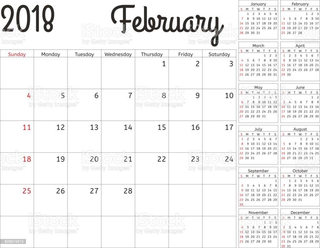 Einfache Kalender Planer Für 2018 Jahr Vektordesign Februar Vorlage ...