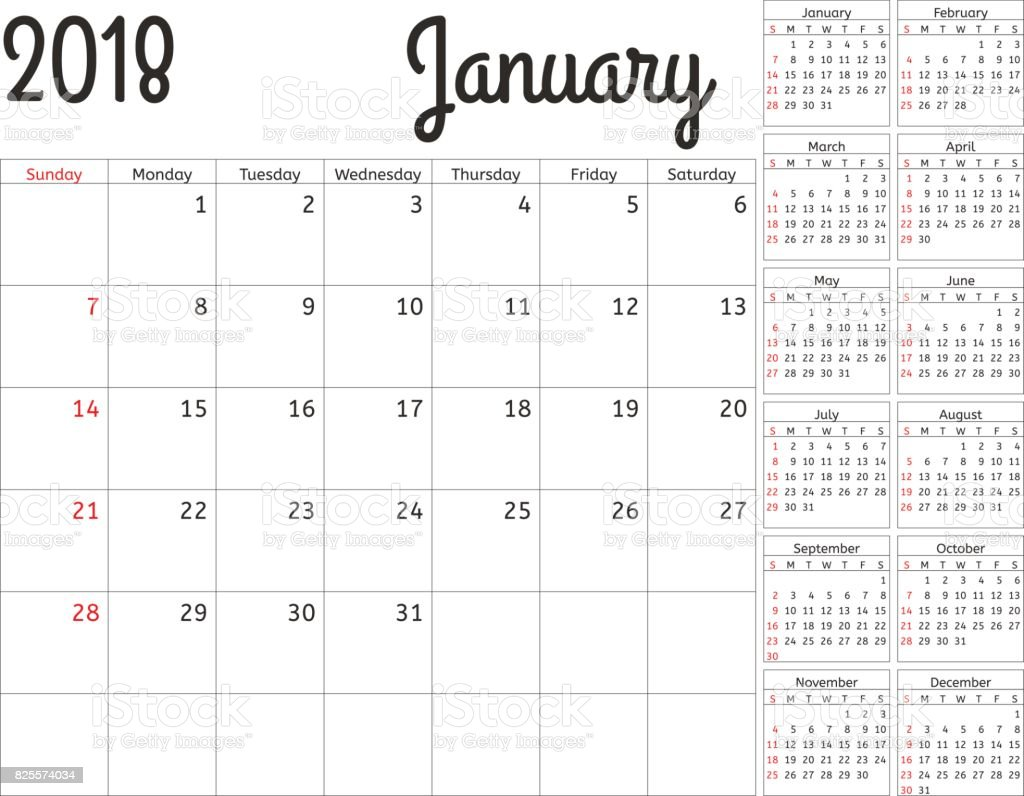 Simple Calendar Planner For 2018 Year Vector Design January Template Set Of 12 Months