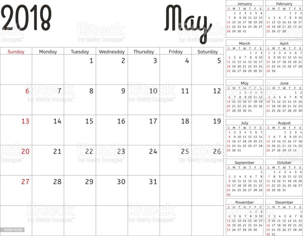 2018 年シンプル カレンダー プランナーベクター デザイン 5 月