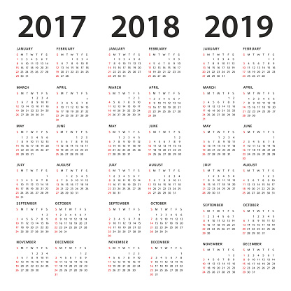 Simple Calendar Template - 2017, 2018 and 2019 Years