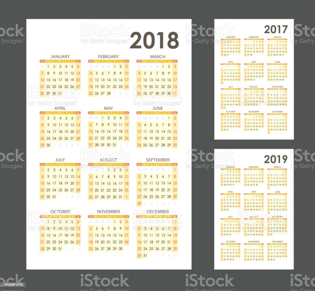 Simple Calendar Template For 2017 2018 And 2019 Week Starts From ...