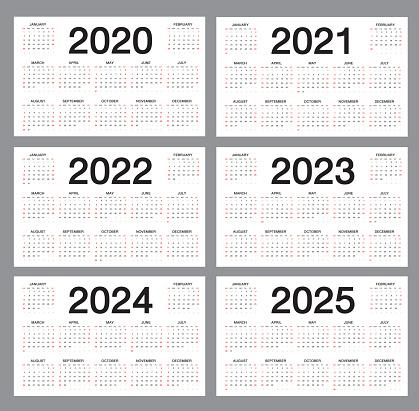 Simple calendar Template for 2020, 2021, 2022, 2023, 2024, 2025 years on white background, desk calendar, Week starts from Sunday, Business organizer design, vector illustration