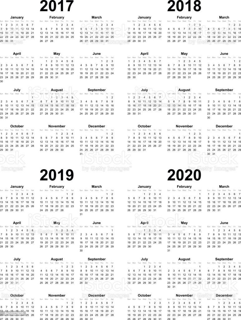 シンプル カレンダー テンプレート ベクトル 2017年 2018年 2019年 2020
