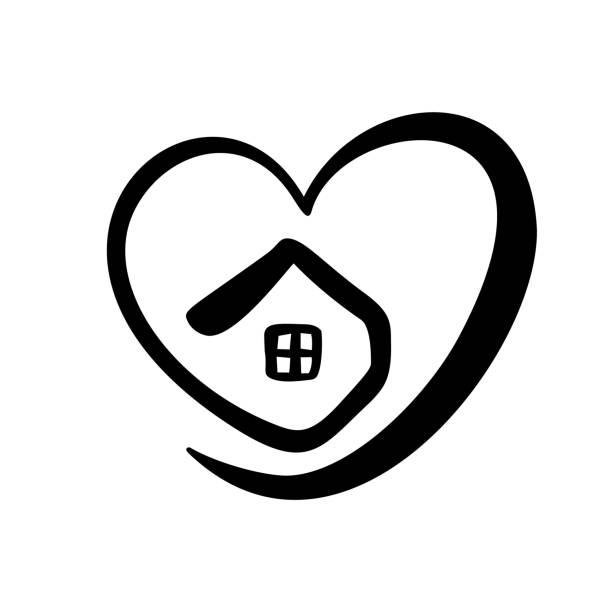 simple calligraphy house with heart. real vector icon. consept comfort and protection. architecture construction for design. art home vintage hand drawn logo element - проживание с уходом stock illustrations
