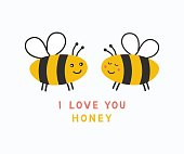 Simple card I Love You Honey. Cartoon cute valentine day poster. Vector illustration.