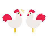Cartoon rooster drawing in simple flat vector style. Cute crowing cock illustration.