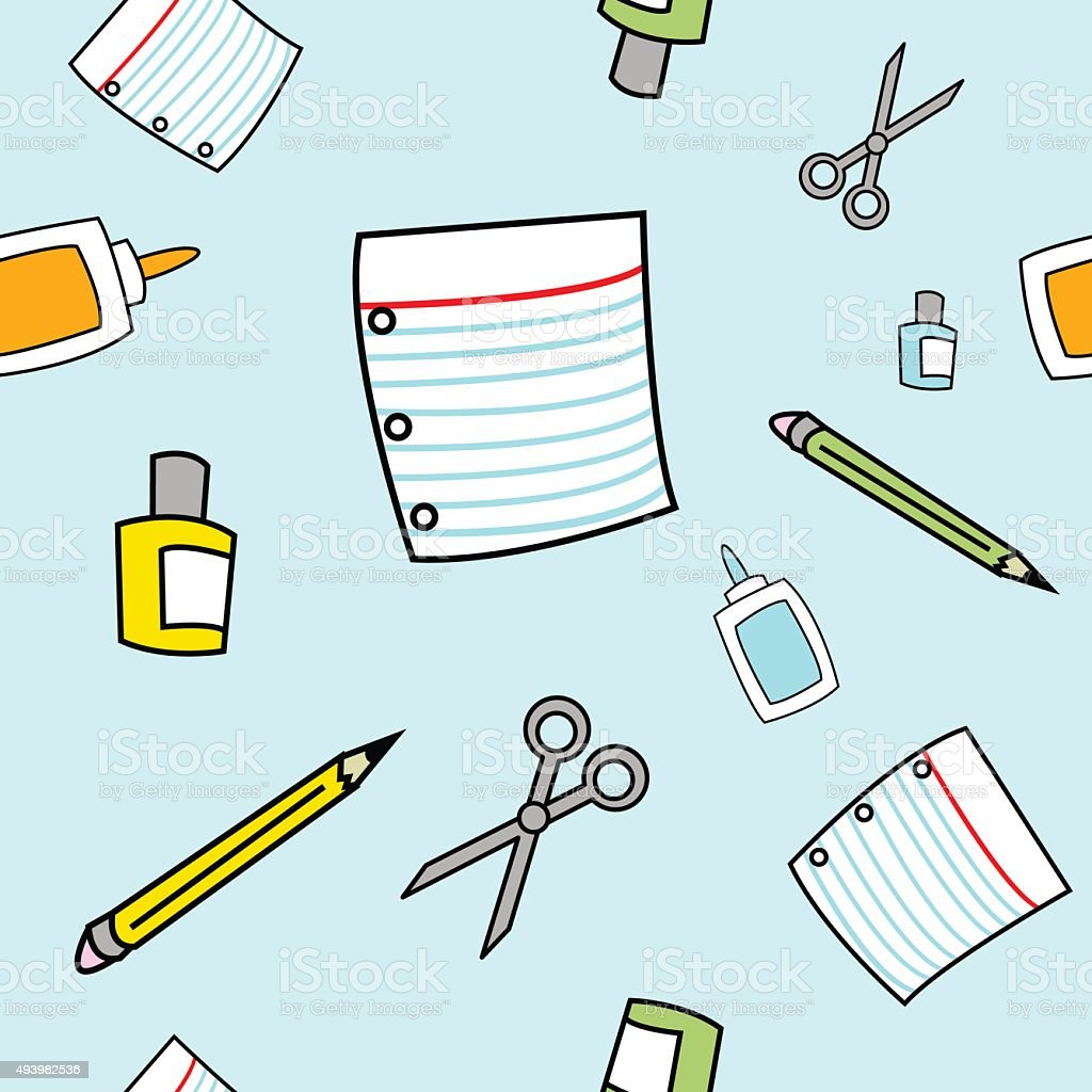 Simple Cartoon School Supplies Seamless Pattern vector art illustration
