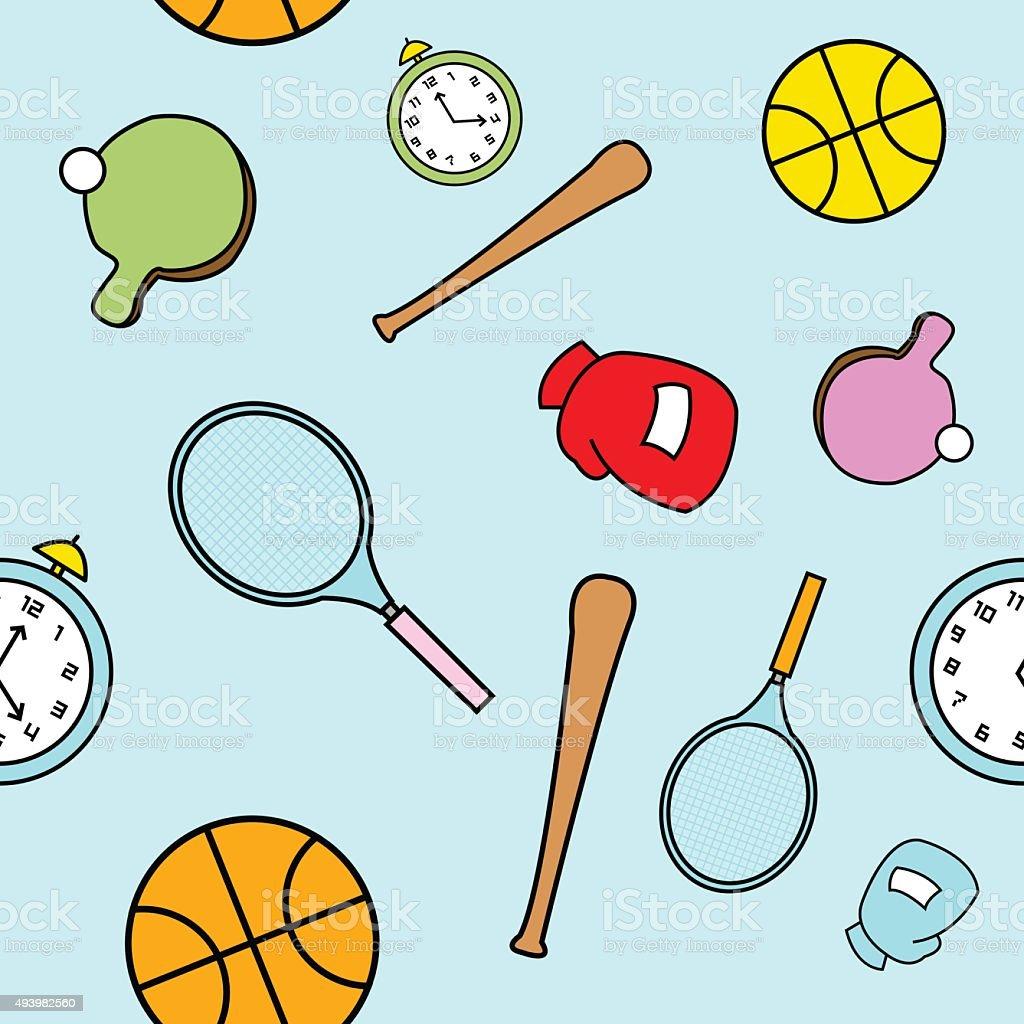Simple Cartoon Sports Themed Seamless Pattern vector art illustration