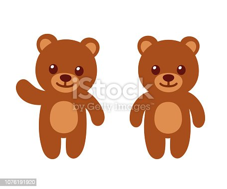 Simple and cute teddy bear standing and waving. Flat vector style cartoon illustration.
