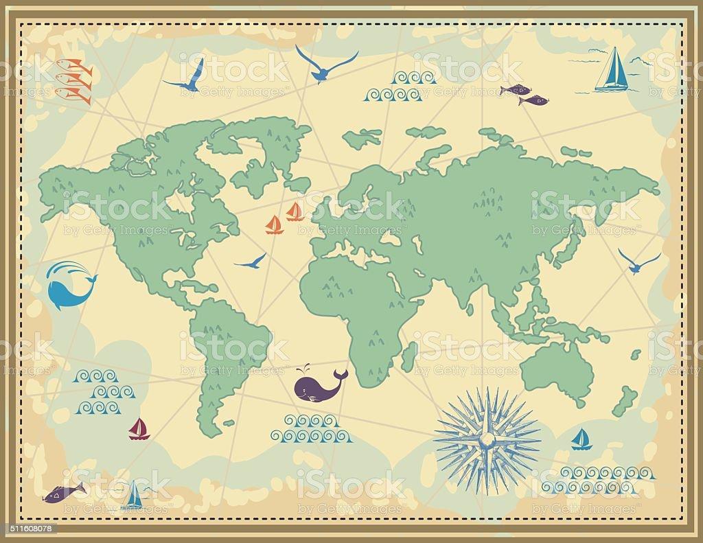 Semplice Fumetto Mappa Vintage Semplice Fumetto Mappa Vintage   Immagini  Vettoriali Stock E Altre Immagini Di