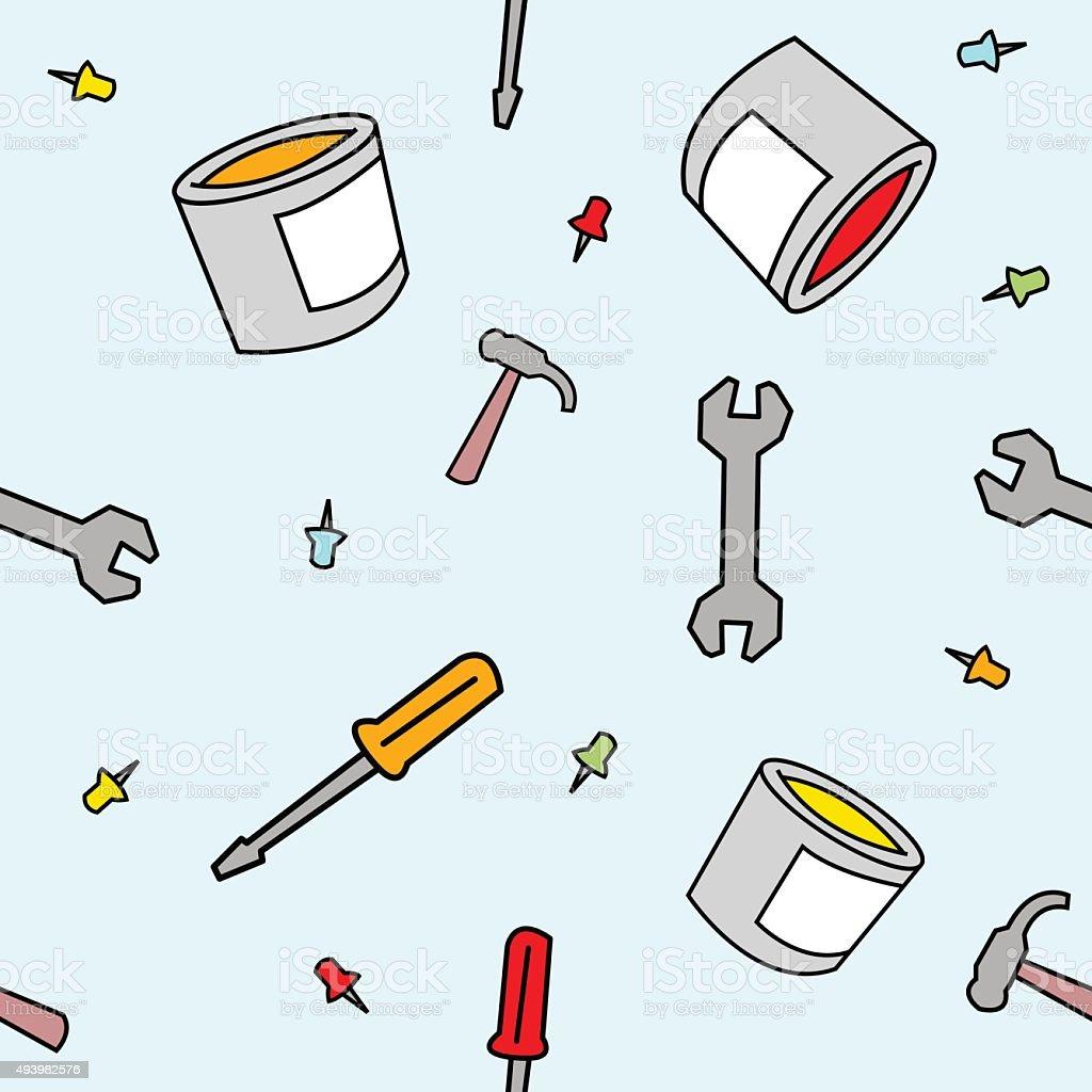 Simple Cartoon Work Supplies Seamless Pattern vector art illustration