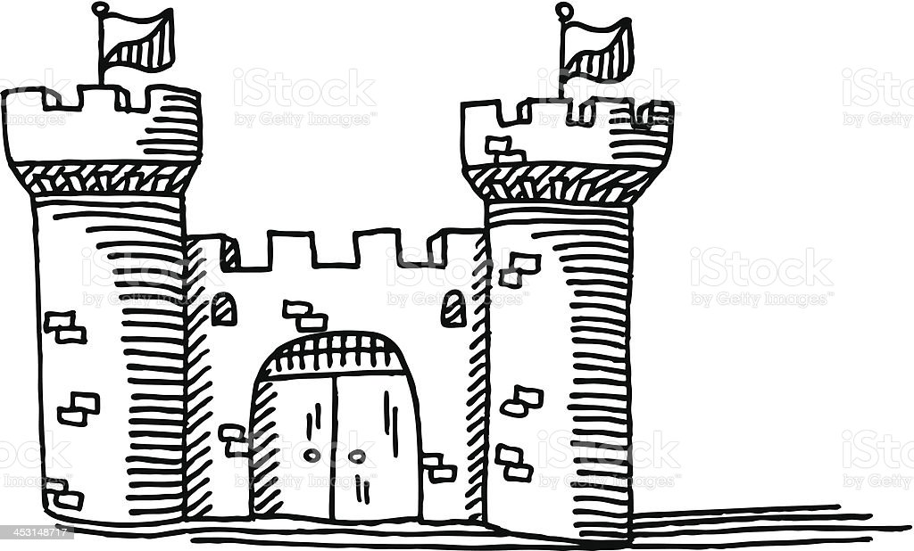 simple castle drawing stock vector art more images of architecture