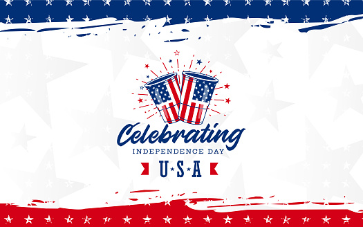 Simple Celebrating USA Independence day design with Beer and fireworks, on modern red & blue grunge brush background with star. Use for sale banner, discount banner, Advertisement banner, postcard, etc.